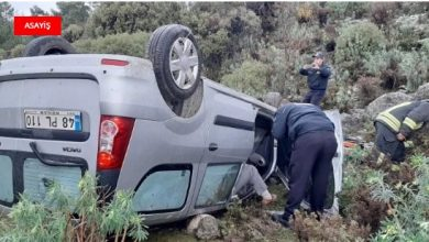 Photo of Şarampole yuvarlanan otomobil 30 dakika arandı